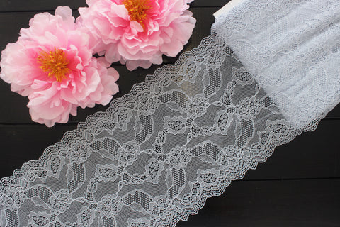 "1 YD of 8"" Heather Gray Blue Floral Stretch Lace for Bramaking Lingerie"