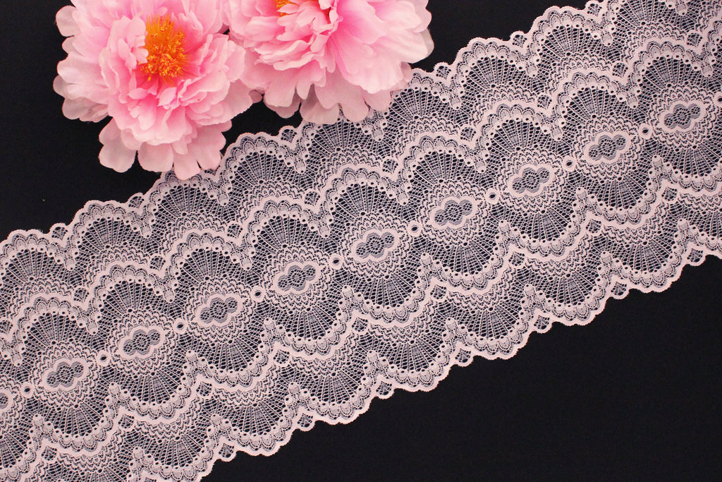 "1 YD Heavenly Pink Scallop 9.25"" Stretch Lace for Bramaking Lingerie"