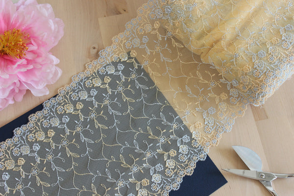 "1 YD of 8"" Honey Yellow Ice Blue Floral Embroidered Tulle Lace Non-Stretch"
