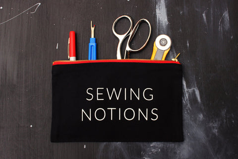 "Black ""Sewing Notions"" Zip Pouch w/ Red Metal Zipper"