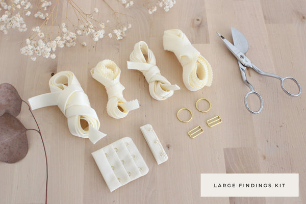 Large Bra Findings Kit - Ivory - Perfect for an Underwired Bra