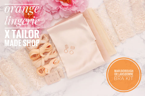 ***PRE-SALE**** Orange Lingerie Peach Silk Charmeuse Peach Gold Lace Marlborough Bra or Lansdowne Bra Kit