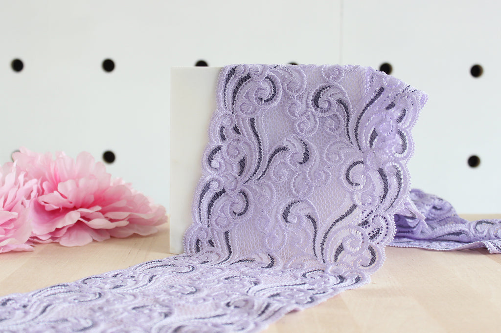 "1 YD of 6.25"" Lavender/Gray Abstract Swirls Stretch Lace for Bramaking Lingerie"