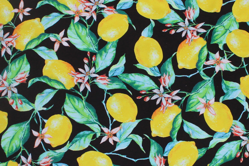 1/2 YD Lemons Florals Repeat Black Ground Swimwear Fabric