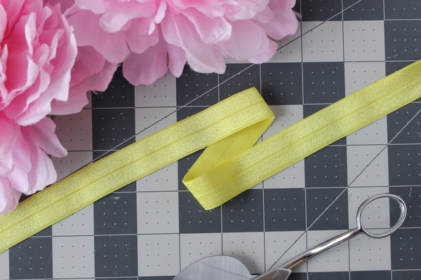 "1 YD of 3/4"" Lemon Yellow Fold Over Elastic Shiny Foldover Elastic FOE Underwear Making Lingerie Bra Making"