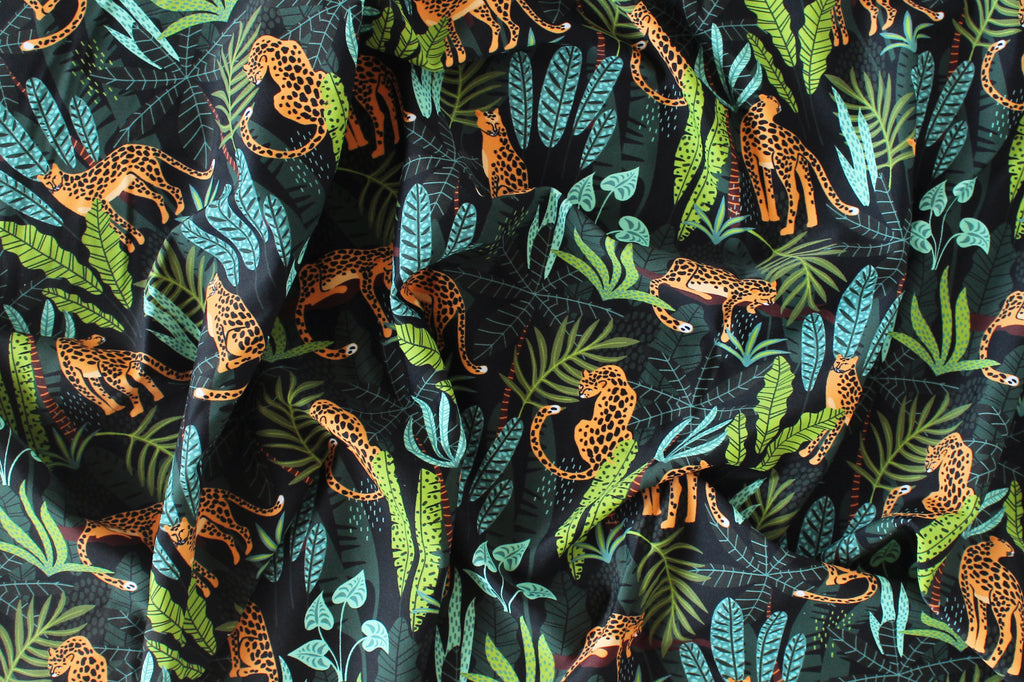 1/2 YD Leopard Tropical Leaves Print Swimwear Fabric