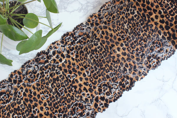 "1 YD of 8.5"" Leopard Print Stretch Lace for Bramaking Lingerie"