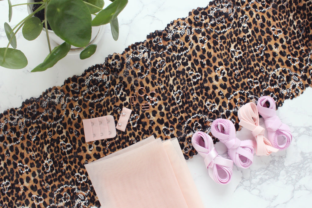 DIY Underwire Bra Kit Leopard Print Lace Lilac Blush