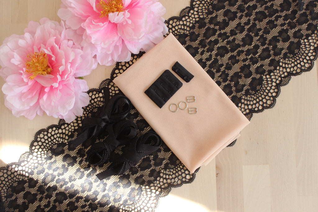DIY Soft Bra Kit Black Leopard Peach