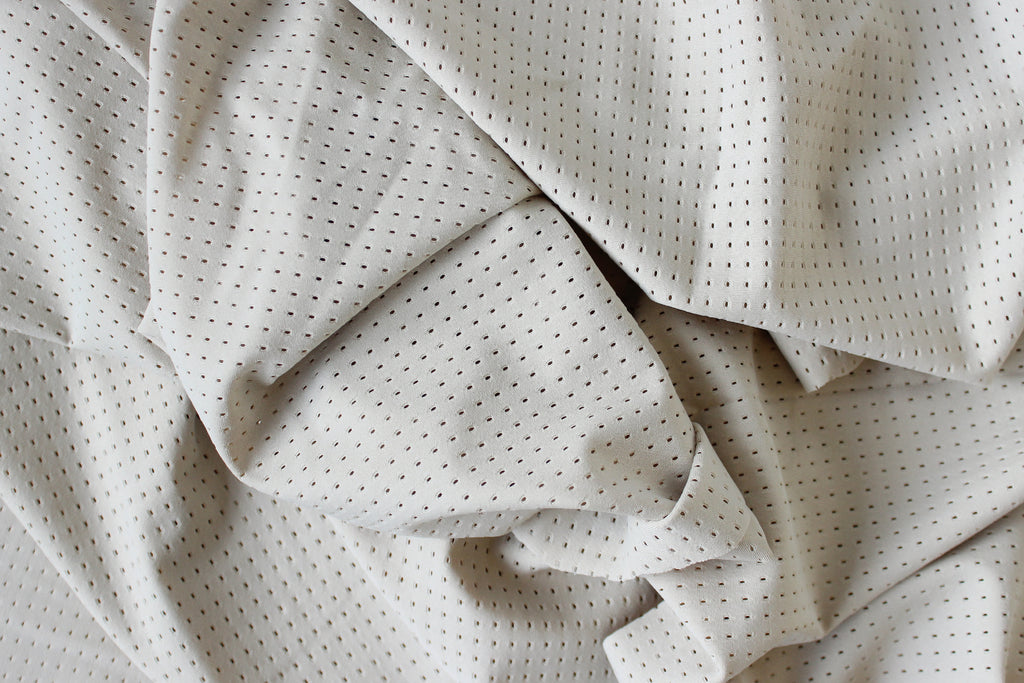 1/2 YD Pale Gray Yellow Athletic Mesh Activewear Nylon Spandex Fabric
