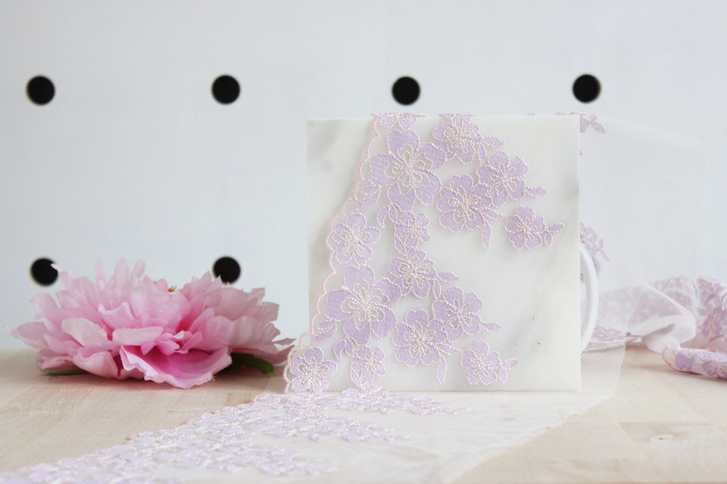 "1 YD of 7"" Lilac/Light Pink Floral Embroidered Tulle Lace Non-Stretch"
