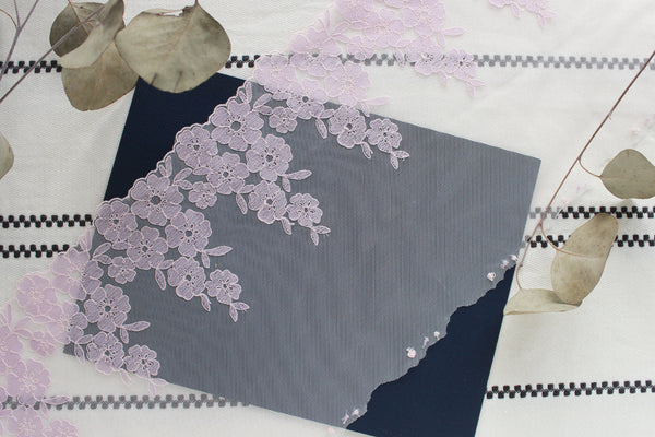 "1 YD of 9"" Pale Lilac/Light Pink Floral Embroidered Tulle Lace Non-Stretch"