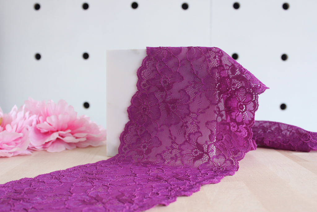"1 YD of 6.5"" Magenta Floral Stretch Lace for Bramaking Lingerie"