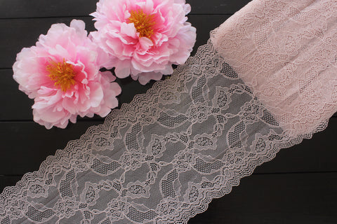 "8"" Mauve Floral Stretch Lace for Bramaking Lingerie"