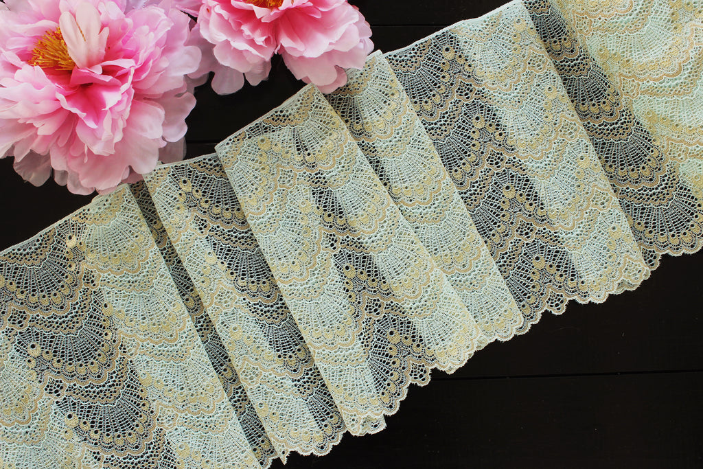 "1 YD of 9"" Mint/Gold Single Scallop Stretch Lace for Bramaking Lingerie"