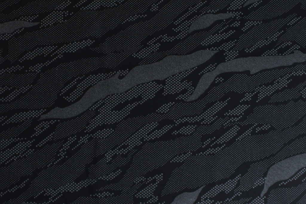 1/2 YD Black/Gray Modern Abstract Print Activewear Sport Lycra Nylon Spandex Wicking Fabric