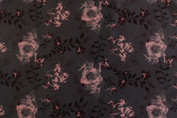 1/2 YD Moody Autumnal Florals Multi Charcoal Firm Lingerie Satin Bra Making Cups & Frame Fabric - LIMITED EDITION!