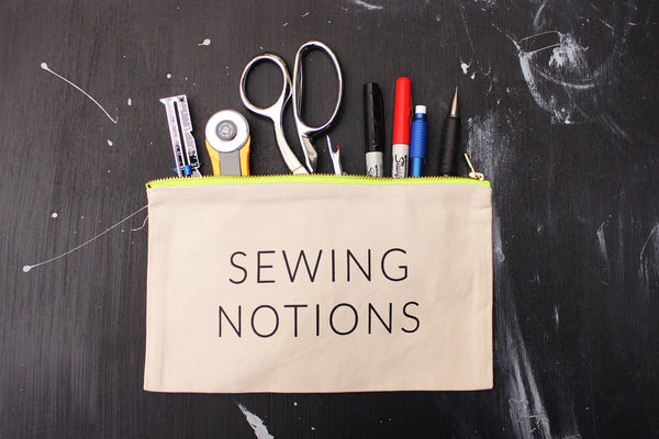 "Natural ""Sewing Notions"" Zip Pouch w/ Neon Green Metal Zipper"