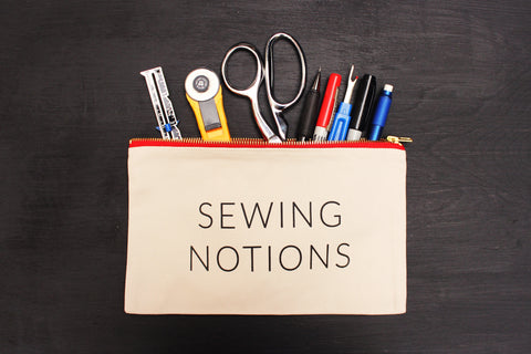 "Natural ""Sewing Notions"" Zip Pouch w/ Red Metal Zipper"
