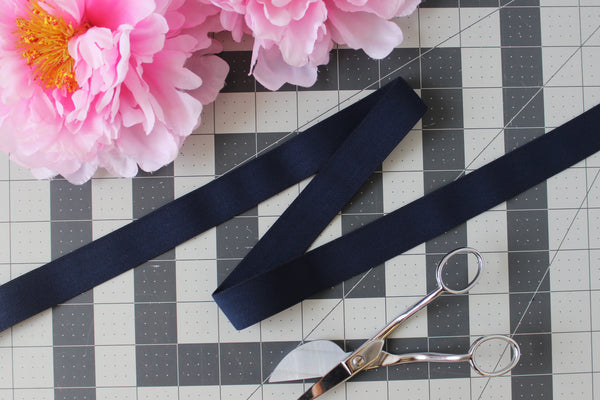"1"" (25mm) Dark Navy Plush Wide Elastic - Sold by the yard"