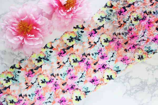 "1 YD of 8.5"" Neon Pastels Pink Yellow Orange Blue Multi Floral Stretch Lace for Bramaking Lingerie"