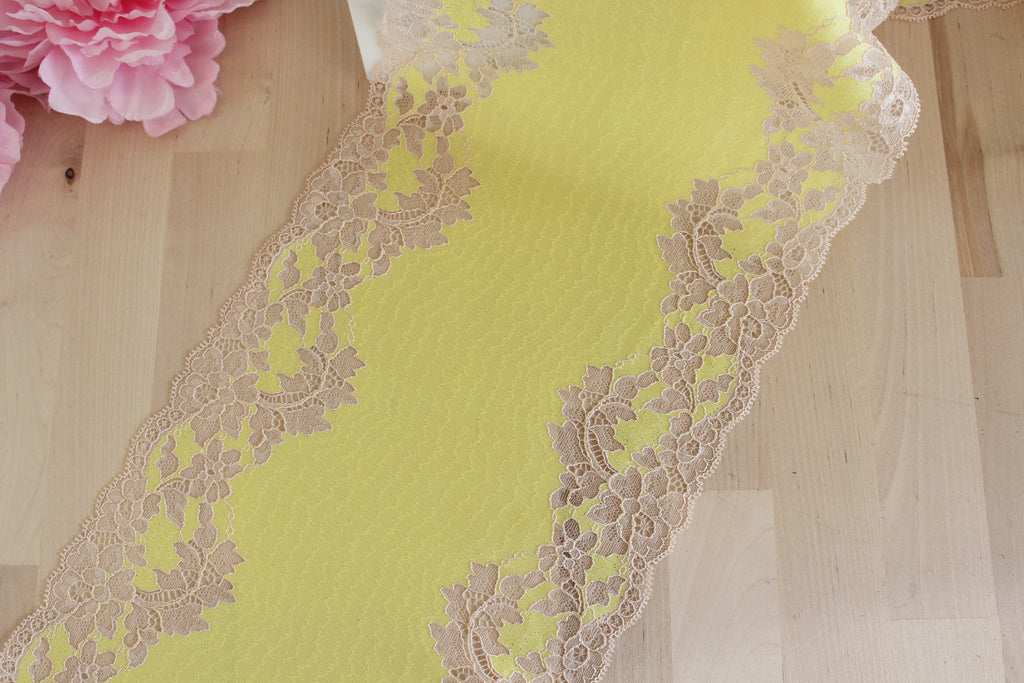 "1 YD Neon Canary Yellow/Reddish Beige 8.5"" Stretch Lace for Bramaking Lingerie"