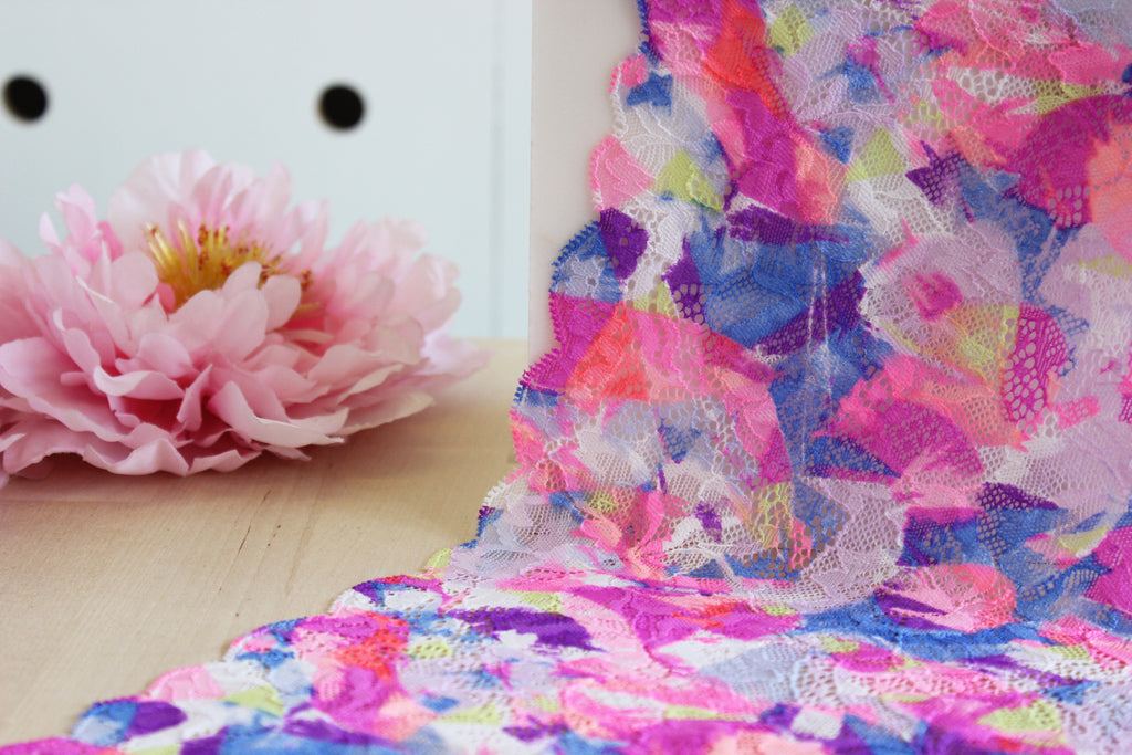 "1 YD of 7.5"" Neons Party Floral Stretch Lace for Bramaking Lingerie"