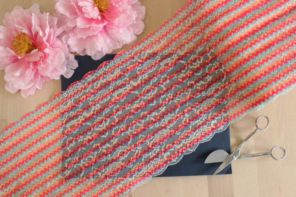 "1 YD of 9"" Neon Multi Zigzag Stretch Lace for Bramaking Lingerie Underwear Sewing DIY"