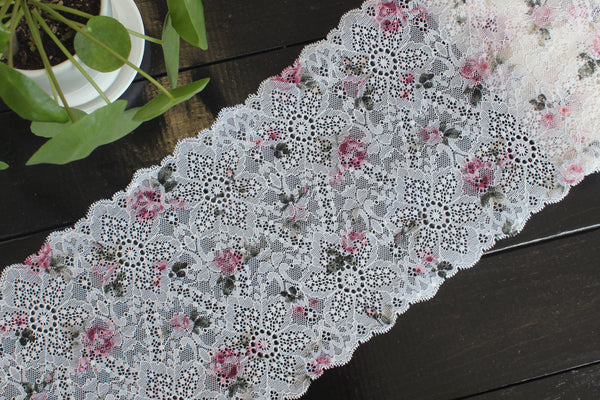 "1 YD of 7.5"" Off-White Pink Floral Stretch Lace for Bramaking Lingerie Underwear Sewing DIY"