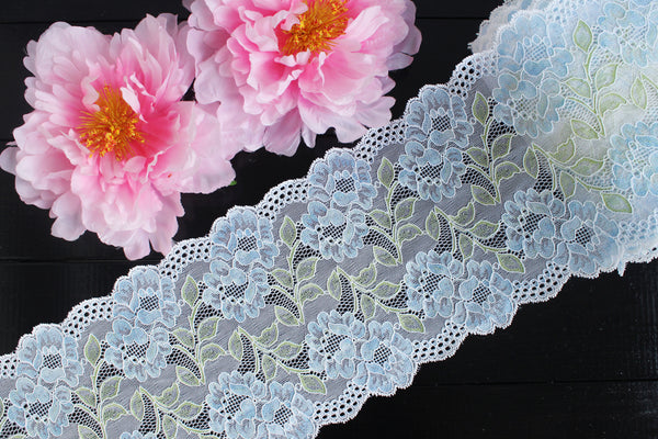 "1 YD Pale Blue/Green/Off-White Multi 6.5"" Stretch Lace for Bramaking Lingerie Underwear Sewing DIY (from Hong Kong!)"
