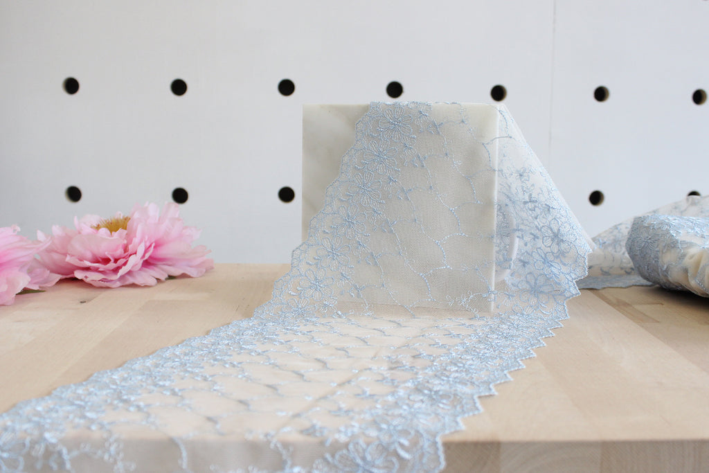 "1 YD of 8"" Ice Blue/Off-White Floral Embroidered Tulle Lace Non-Stretch"