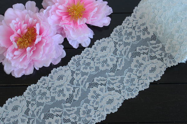 "1 YD of 6"" Pale Grey Blue Floral Stretch Lace for Bramaking Lingerie"
