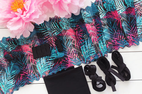DIY Soft Bra Kit Black Teal Multi Palm Leaves Stretch Lace