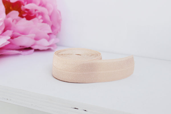"1 YD of 3/4"" Peach Fold Over Elastic Shiny Foldover Elastic FOE Underwear Making Lingerie Bra Making"