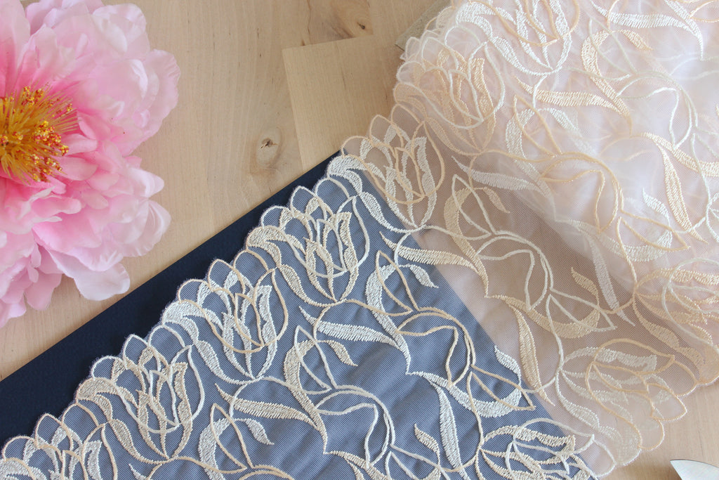 "1 YD of 7.5"" Warm White Peach Tulips Embroidered Tulle Lace Non-Stretch"