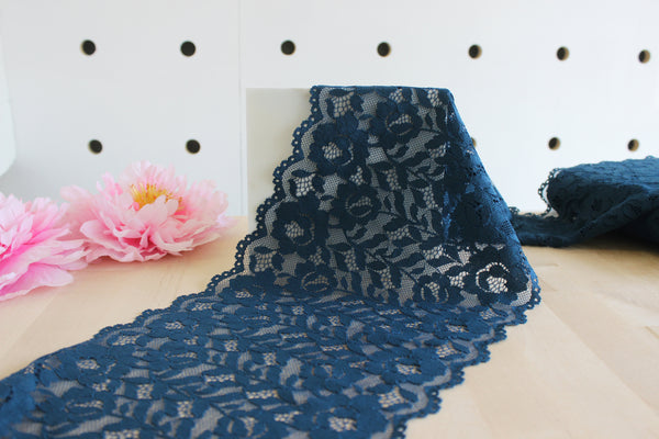 "1 YD of 8.25"" Peacock Blue Stretch Lace for Bramaking Lingerie"