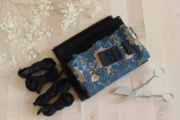 DIY Underwire Bra Kit Peacock Blue Embroidered Tulle