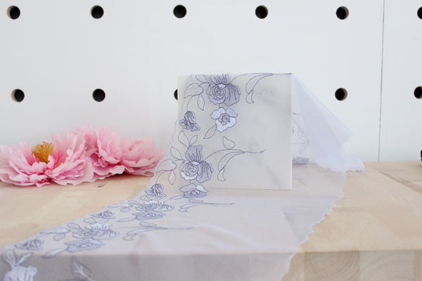 "9"" Periwinkle Floral Embroidered Tulle Edge Lace Non-Stretch (Left and Right Lace Available)"