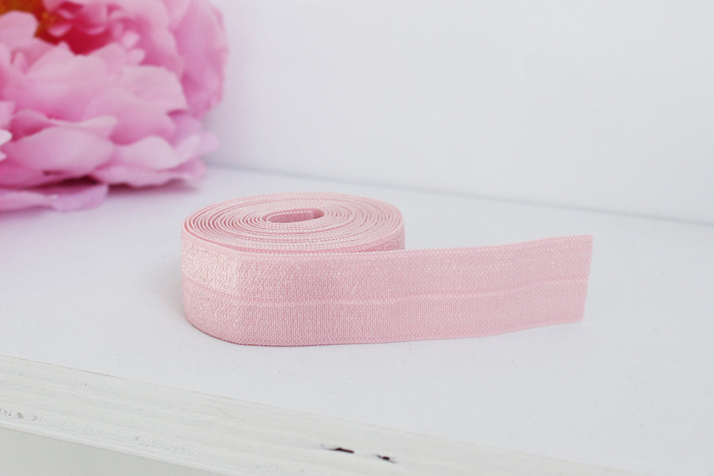 "1 YD of 3/4"" Pink Fold Over Elastic Shiny Foldover Elastic FOE Underwear Making Lingerie Bra Making"