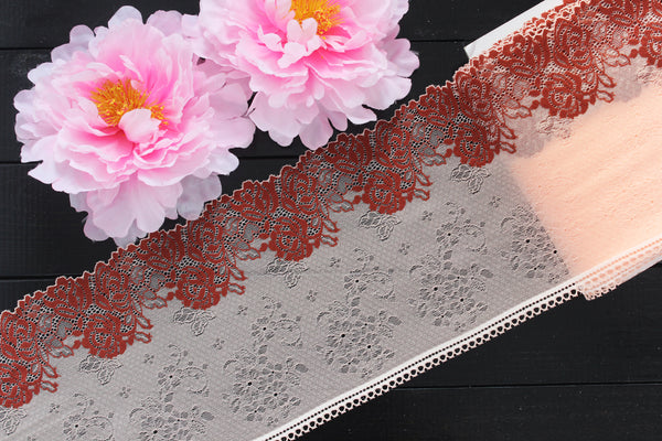 "1 YD 7.5"" Pink Peach/Brick Red Stretch Lace for Bramaking Lingerie"