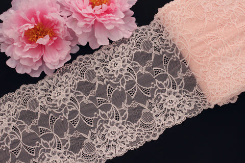 "1 YD Pink Peach 8.75"" Stretch Lace for Bramaking Lingerie"