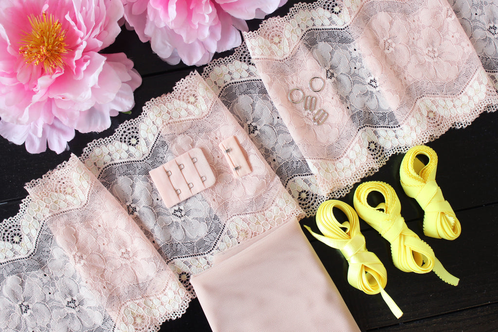 DIY Soft Bra Kit Pink Off-White Neon Canary Yellow Ivory