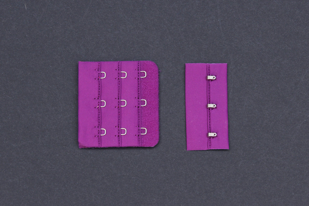 1 Set Plum Bra Hook & Eye 3 Rows 2.25""