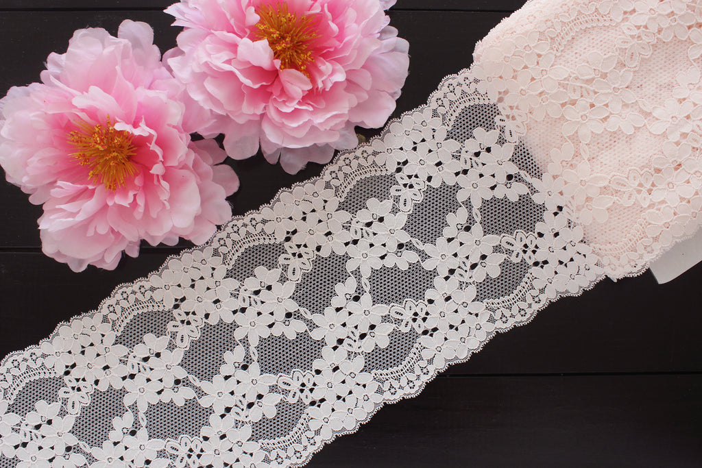 "1 YD 7"" Powder Pink Floral Stretch Lace for Bramaking Lingerie Underwear Sewing DIY"