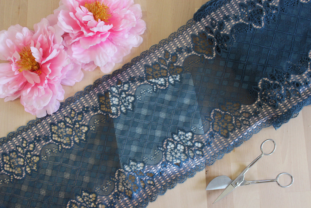 "1 YD of 9"" Prussian Blue/Pink Diamonds Stretch Lace for Bramaking Lingerie Underwear Sewing DIY"