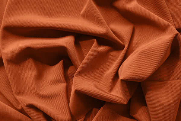 1/2 YD Pumpkin Spice Orange Ribbed Swimwear Activewear Nylon Spandex Fabric