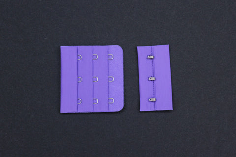 1 Set Purple Bra Hook & Eye 3 Rows 2.25""