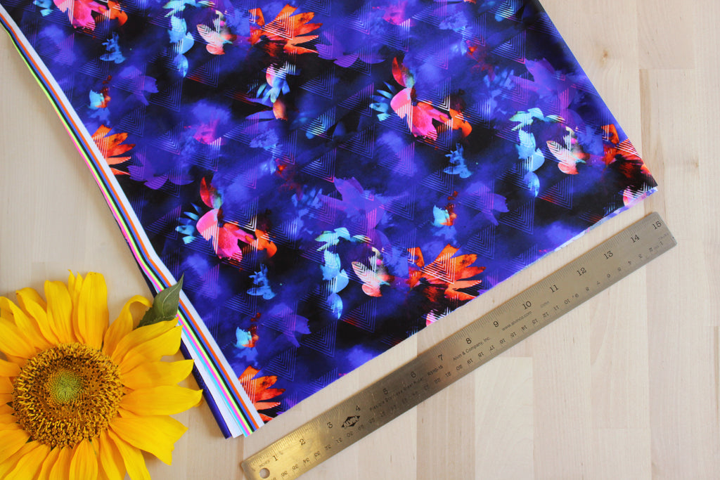 1/2 YD Purple Multi Abstract Geometric Floral Swimwear Activewear Fabric