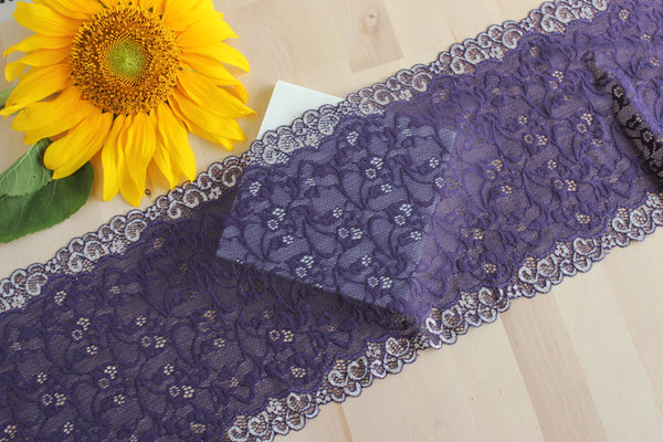 "1 YD of 8.25"" Purple/Silver Floral Stretch Lace for Bramaking Lingerie"