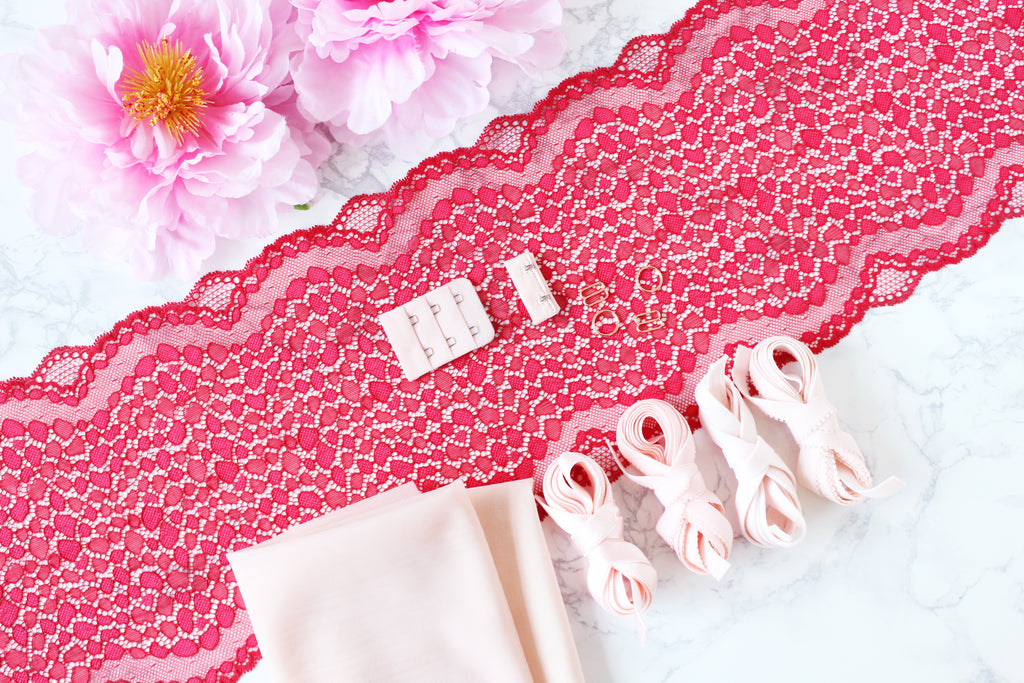 DIY Underwire Bra Kit Red Blush Shell Pink